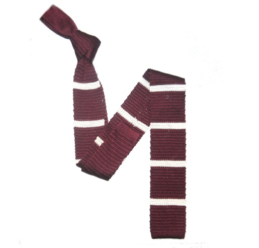 Burgundy/White Stripes Silk Knitted Tie -0