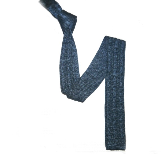 Marine Blue Cable Knit Silk Knitted Tie-0