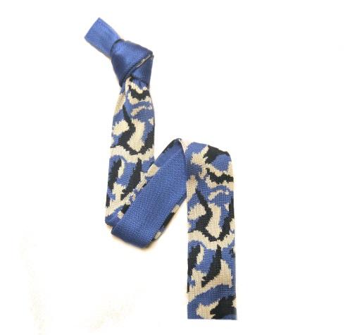 Blue/White Camouflage Silk Knitted Tie -0
