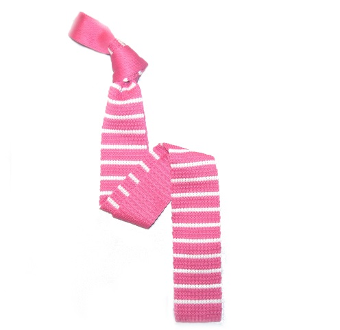Pink/White Slim Stripes Knitted Tie