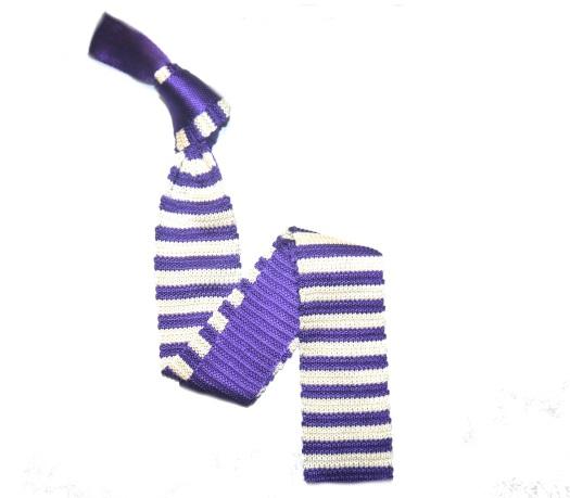 Purple/White Slim Stripes Knitted Tie-0