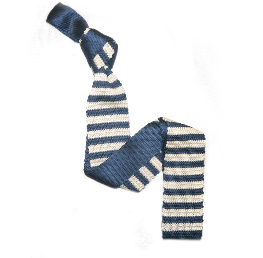 Teal/White Slim Stripes Knitted Tie-0