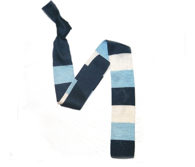 French Navy/White/Turquoise Silk Knitted Tie