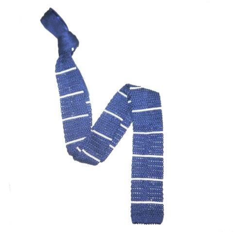 Blue/White Slim Stripes Silk Knitted Tie-0