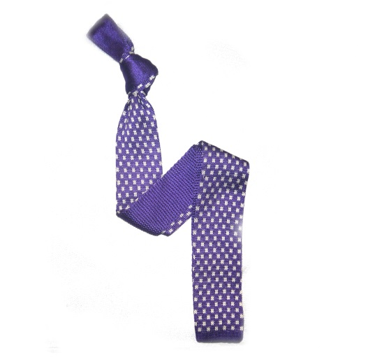 Purple/White Patterned Silk Knitted Tie -0