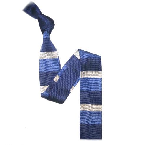 French Navy/Navy/White Bold Stripes Silk Knitted Tie -0
