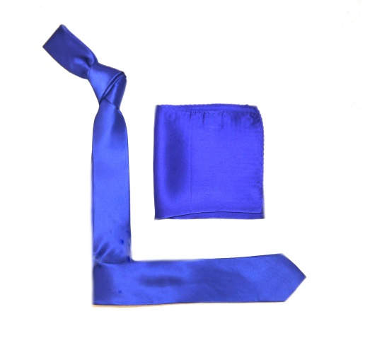 Royal Blue Silk Skinny Tie -0