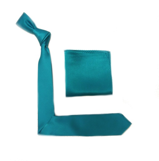 Teal Silk Skinny Tie and Pocket Square -0
