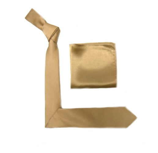 Vintage Gold Silk Skinny Tie -0