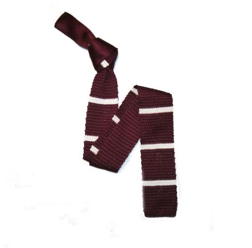 Burgundy/White Slim Stripes Silk Knitted Tie