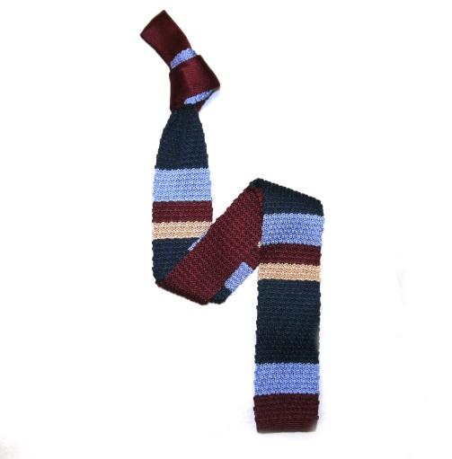 Burgundy/Navy/Blue Beige Stripes Silk Knitted Tie -0