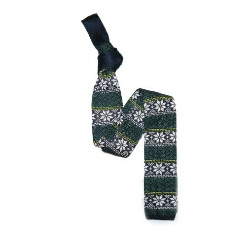 Green/White/Yellow Fairisle Silk Knitted Tie