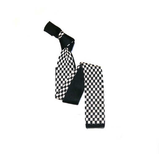 Black/White Chequered Pattered Silk Knitted Tie -0