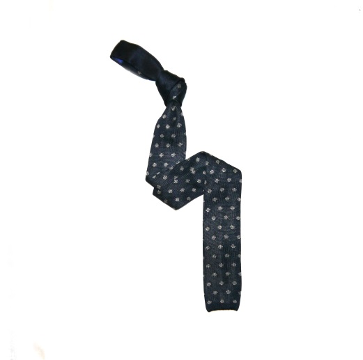 Navy/White Circle Patterned Silk Knitted Tie