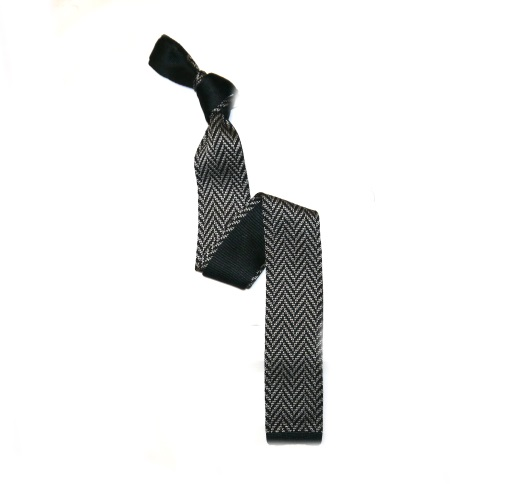 Black/Grey Herringbone Silk Knitted Tie -0