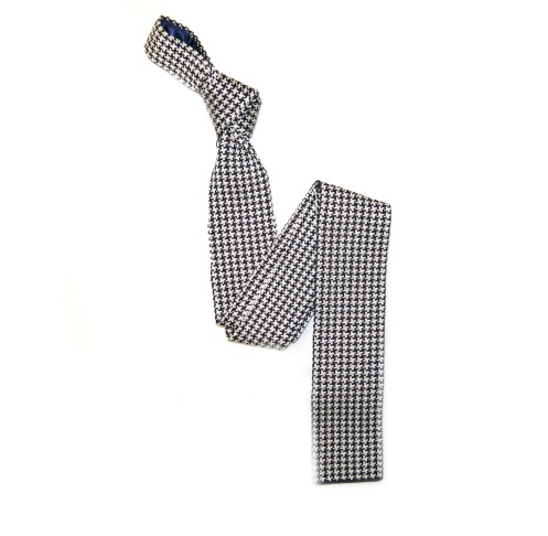 Black/White patterned Silk Knitted Tie