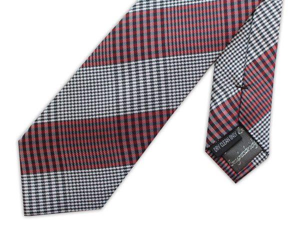 black/white/red gingham woven silk tie -0