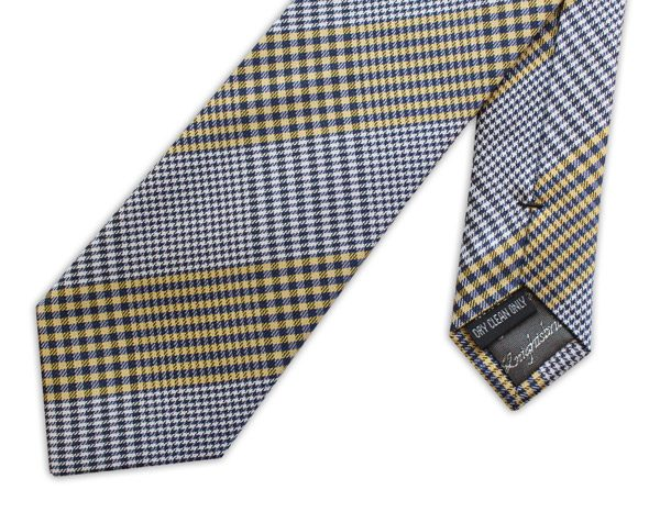 black/white/yellow gingham woven silk tie -0