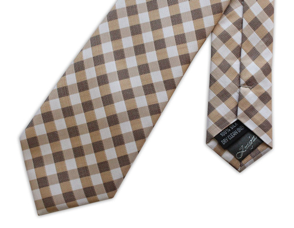 BROWN GINGHAM CHECK WOVEN SILK TIE