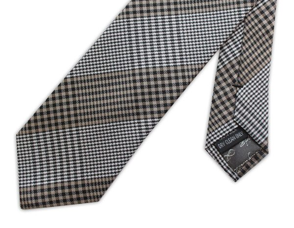 black/white/taupe gingham woven silk tie -0