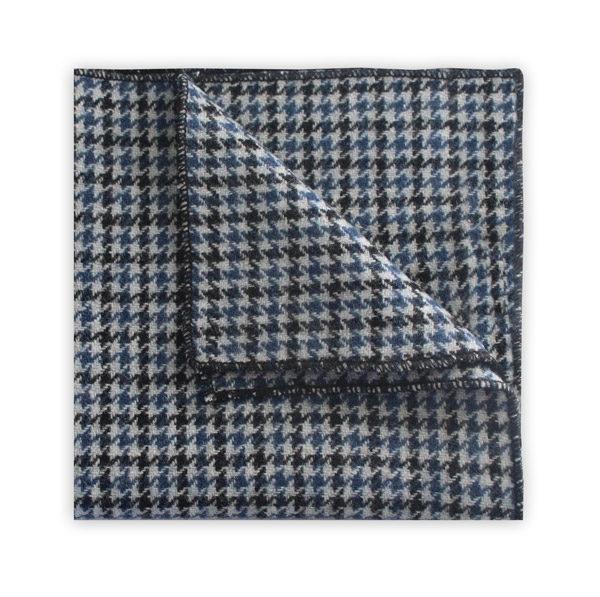 Blue/black houndstooth pocket square-0