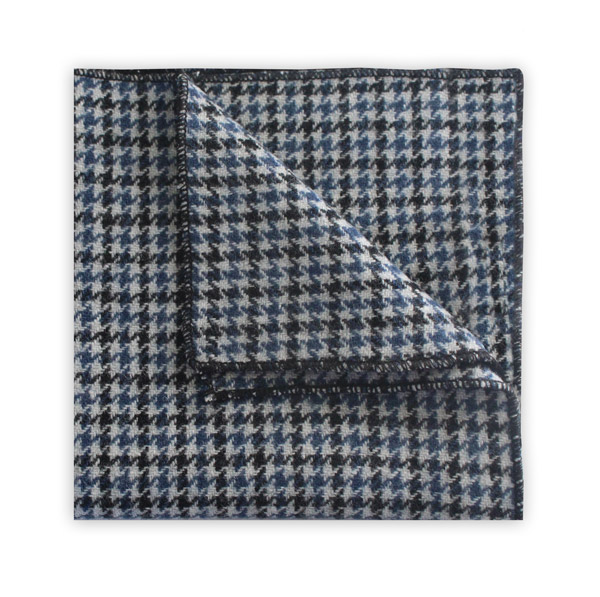 Blue/black houndstooth pocket square