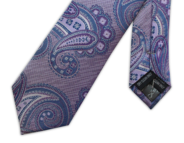 PURPLE AND LILAC PAISLEY woven silk tie