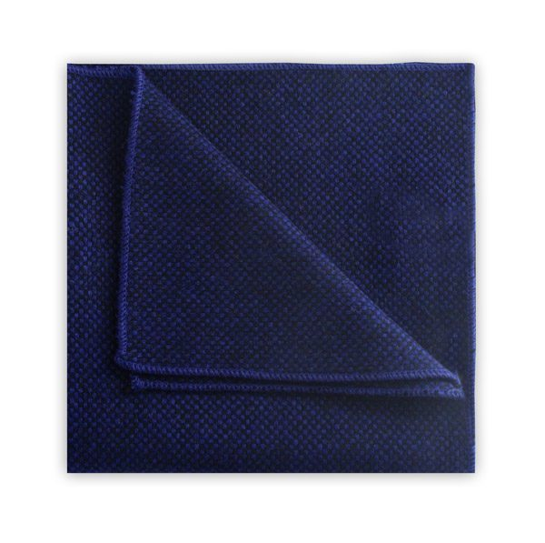 Royal blue tweed pocket square -0