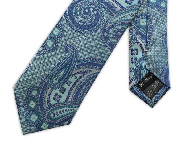 TURQUOISE AND BLUE PAISLEY WOVEN SILK TIE