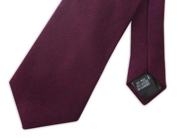 Plain burgundy wool tie -0