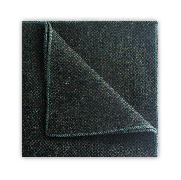 Dark Green Tweed pocket Square-0