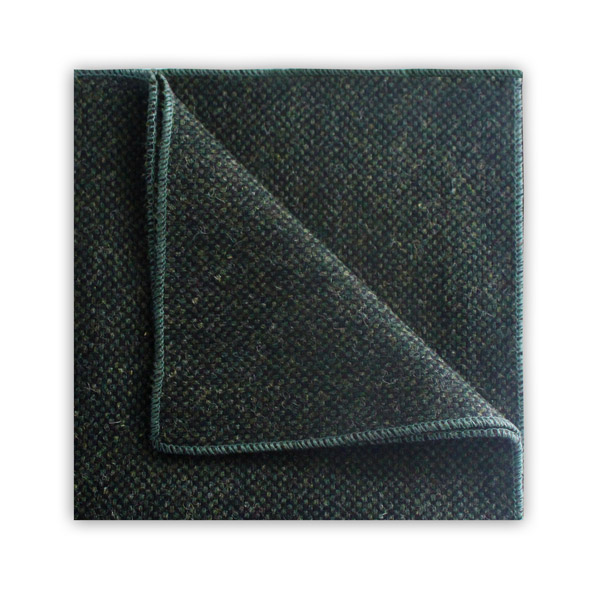 Dark Green Tweed pocket Square
