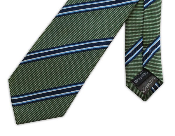 Green with Navy and sky blue striped woven silk tie-0