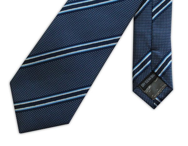 BLUE AND NAVY STRIPED WOVEN SILK TIE-0