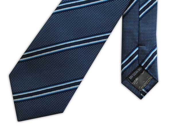 BLUE AND NAVY STRIPED WOVEN SILK TIE