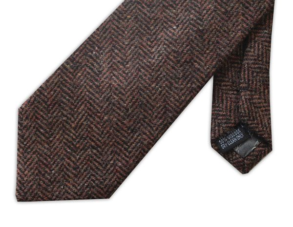 Brown herringbone tweed tie-0