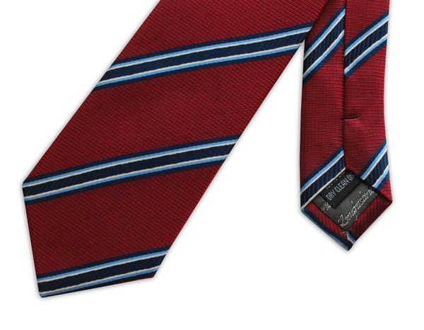 RED WITH NAVY AND SKY BLUE STRIPES WOVEN SILK TIE-0