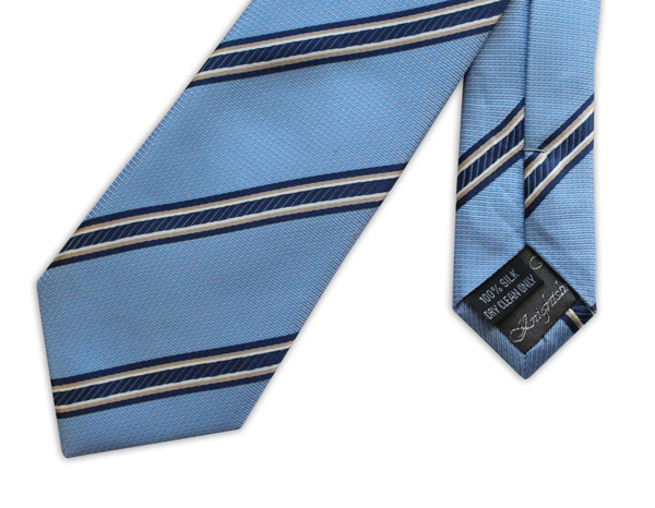 SKY BLUE WITH NAVY AND WHITE STRIPES WOVEN SILK TIE