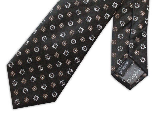 black/gold/white small flowers woven silk tie-0