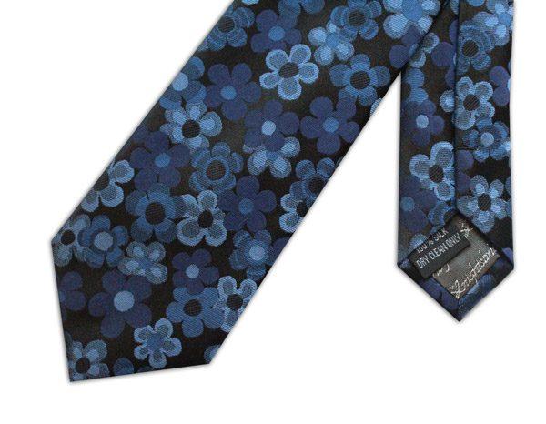 Blue/black floral woven silk tie -0