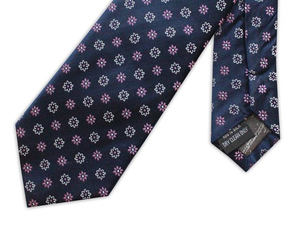 navy/white/pink small flowers woven silk tie-0