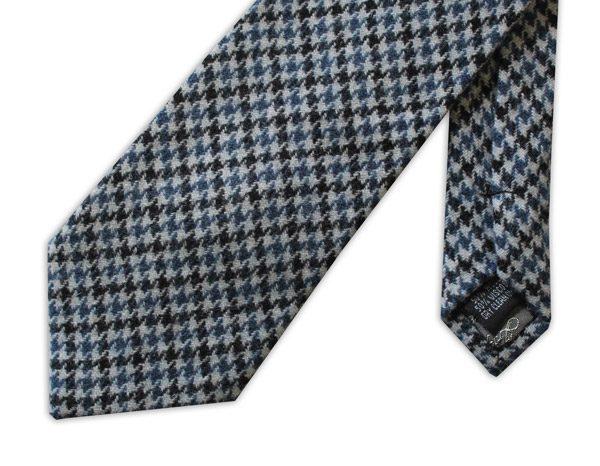Blue/black/white houndtsooth tweed tie -0