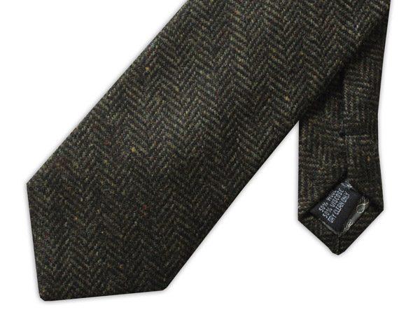 Dark olive green herringbone tweed tie -0