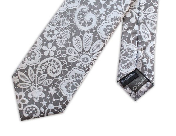Grey/metallic silver lace effect woven silk tie-0