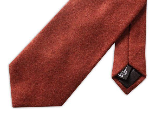 Plain light brown wool tie -0