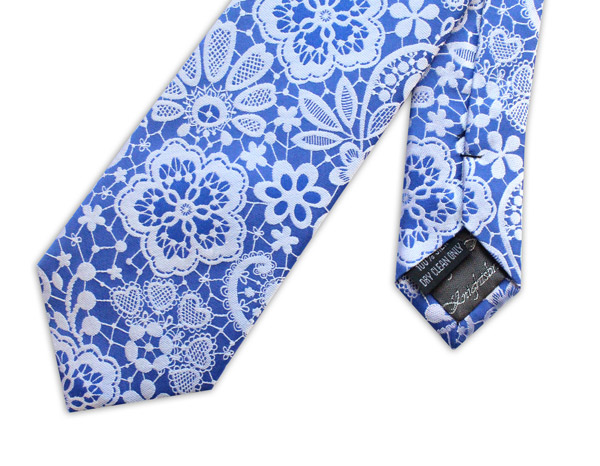 Royal blue/metallic silver lace effect woven silk tie