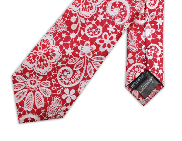Red/metallic silver lace effect woven silk tie