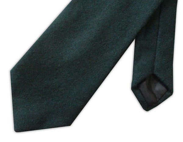 Plain racing green wool tie -0