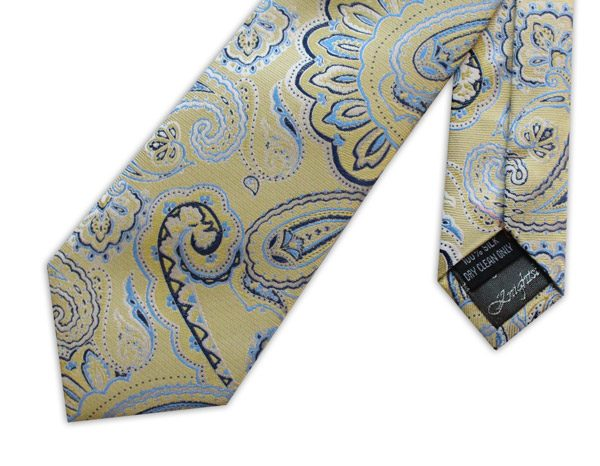 YELLOW/BLUE PAISLEY WOVEN SILK TIE-0
