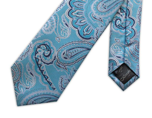 LIGHT BLUE PAISLEY WOVEN SILK TIE-0